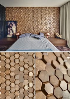 A Bedroom Accent Wall Made From 3D Hexagonal Wood Tiles