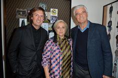 Pietro Beccari, Silvia Venturini Fendi and Antonio Belloni at the Fendi Men's Fall/Winter 2018-19 Fashion Show