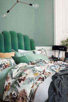 linge de lit printemps déco tropicale vert  imprimé végétal