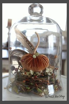 It's Fall and that means it's time for all things pumpkin! Let's take an item that's usually reserved for Spring (a nest) and turn it into Autumn decor. Then we can add a velvet pumpkin, some feathers, and a cloche and have a beautiful centerpiece! #velvetpumpkin #fallcloche #fallcenterpiece
