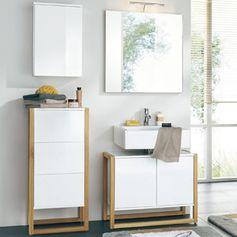 Meuble vasque NewEst en chêne laqué blanc