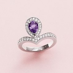 Joséphine Aigrette stackable ring in white gold with brilliant-cut diamonds and a pear-shaped amethyst.