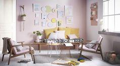 Pièce à vivre ambiance pastel #décoration #zodio #ambiance #pastel #rose #cute