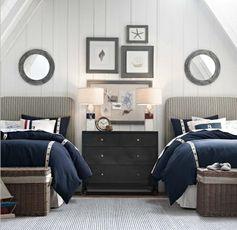 chambre à coucher deux lits de style nautique
