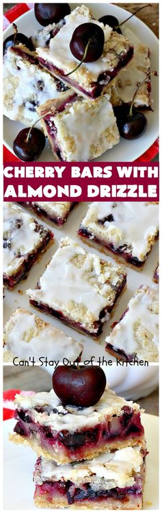 Cherry Bars with Almond Drizzle | Can't Stay Out of the Kitchen | these delicious #cookies will have you drooling after the first bite! The #almond drizzle on top is to die for. #dessert #cherries #LaborDay #cherrydessert #LaborDayDessert