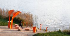 Latvian-based Design Studio H2E has recently completed their public furniture installation named 'Anglers Seats', a place for anglers to fish and for lake visitors to rest. #PublicFurniture #Design