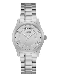 Brushed Silver-Tone Classic Watch
