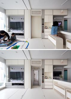 In this small apartment, a pocket door slides open to reveal the bedrooms and bathroom. #PocketDoor #SmallApartment #ApartmentDesign