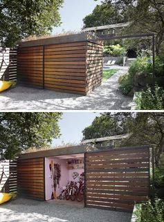 A modern backyard shed that hides a bike storage room behind a sliding door.