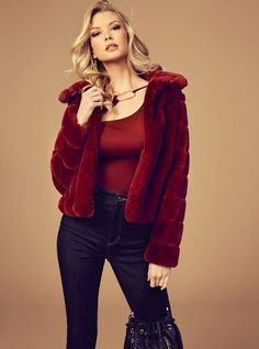 As seen in the GUESS 2018 Holiday campaign, the Dessie Faux-Fur Jacket