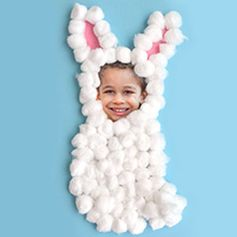 Cotton Ball Bunny - This easy Easter project features your favorite little bunny. A great project for the kids! YYou can even use photos on your phone by printing them using the My Kodak Moments app. Download it for iOS or Android --> http://kodak.ly/1bJai1N  #Easter #photo #photography #DIY #craft #project #inspiration #idea