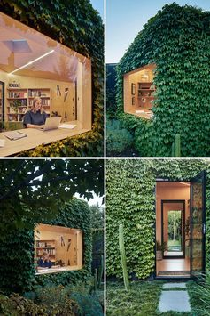 A small backyard office for a writer is covered in Boston ivy and has a large picture window.
