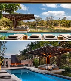 Swimming Pool Ideas - This pool has a sculptural canopy that provides shade for daybeds. There's also a place to gather that has an outdoor fireplace. #SwimmingPool #Pool #OutdoorFireplace