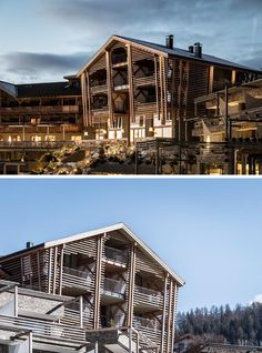 An Exterior Of Horizontal Wood Poles Creates A Unique Facade For This Hotel