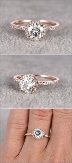 Rose gold 1.25ct brilliant Moissanite Engagement Ring / http://www.himisspuff.com/engagement-rings-wedding-rings/2/
