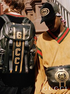 A backpack, belt bag and cap from the Gucci-Dapper Dan collection, printed with the gold interlocking G.