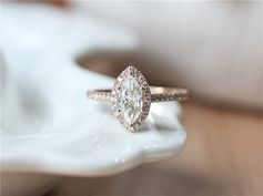 Marquise Cut Moissanite Ring 14K Rose Gold Diamonds by ByLaris