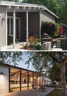 A mid-century modern house was renovated to include a new front porch with steel columns.