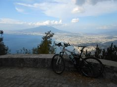View of the Gulf of Naples and Vesuvius Volcano from the road to Mount Faito.