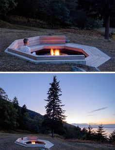 An Outdoor Fire Pit Designed To Take Advantage Of The Ocean Views