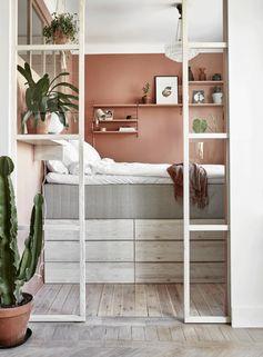 Stämningsfull sovplats i rosa