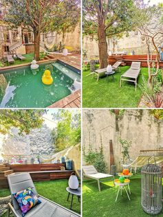 A landscaped backyard with a grassy area, raised deck, and a small swimming pool.