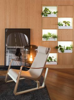 White indoor planters are highlighted by hidden lighting.