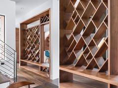 A custom designed wood entryway with open shelving.