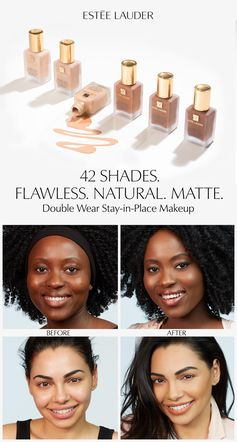 Cool, Warm, or Neutral? Count on Double Wear Stay-In-Place Makeup to always be your perfect match with 42 shades for all skin tones. This lightweight, oil-free foundation has 24-hour staying power for a flawless finish that will last all day. Try our online Foundation Finder for your perfect shade match.