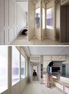 In this small apartment, folding doors that seamlessly blend into the wall next to the television, can be opened to separate the living area from the rest of the apartment. #FoldingDoors #SmallApartmen #DoorIdeas