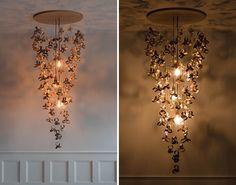 A modern chandelier made from wood curls that appear to float in space.