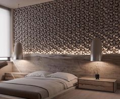 Tetrapod tiles were used to create a 3-dimensional accent wall in this modern bedroom.