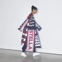 Pledge your allegiance to Stella FC in this football scarf- inspired coat for a bold, eyecatching look. . #StellaMcCartney #StellasWorld