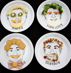Personalized face plates   - fun time at the dinner table.
