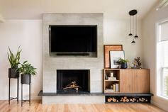 Before & After – Living Room Renovation With A Recessed TV Above A Fireplace
