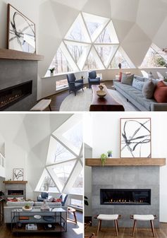 The newly updated interior of this geodesic dome house features bright white walls and modern furnishings feature throughout, like in the living room. The fireplace, which sits next to a large section of windows, has a limestone surround topped with a custom oak mantel that complements the hardwood flooring. #GeodesicDome #LivingRoom #Fireplace #TriangleWindows