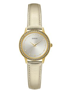 Gold-Tone Metallic Leather Watch
