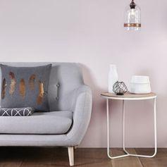 Table basse ronde gigogne en chêne et fer blanc Hübsch