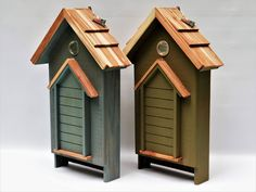 Looking more like a regular house than a bat house, these designs by Birdgazer, have a combination of rough sawn hardwood or softwood, with a red cedar shingle roof, and venting at the top. #BatHouse #BatBox #BatNestingHouse