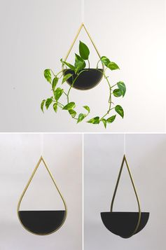A modern hanging planter with a teardrop shape.