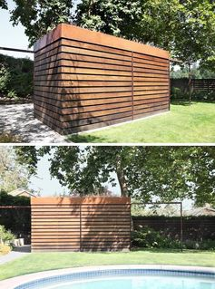 A modern backyard shed with a green roof, that's made from Ipe wood and weathered steel.