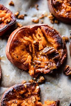 Crispy Roasted Sweet Potatoes with Bourbon Maple Butter. - Half Baked Harvest
