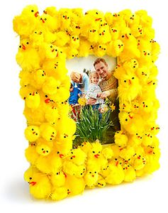 Easter Peep Photo Frame - Use little chick peeps to frame a favorite Easter photo. You can even use photos on your phone by printing them using the My Kodak Moments app.