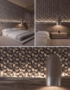 A unique bedroom accent wall made from 3-dimensional tiles.