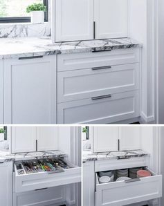 This modern kitchen has organized drawers for storing casual cutlery and stacked plates. #KitchenDesign #KitchenIdeas #KitchenStorage #KitchenOrganization