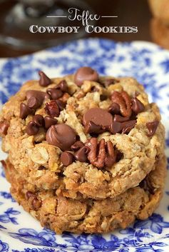 An old classic treat with a few fun twists, these cookies are loaded with chocolate chips, toffee bits and crisp toasted pecans.