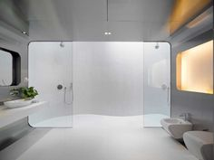 A modern bathroom with stainless steel walls, glass shower screens, and dual showers with a skylight.