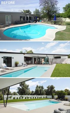 A renovated yard includes a new rectangular swimming pool and covered patio.