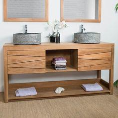 Pour une salle de bain moderne et contemporaine optez pour le meuble de salle de bain en bois massif Cosy! Ce meuble en teck naturellement résistant à l'humidité offrira à votre intérieur design et confort.