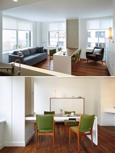 A small apartment with a fold-down dining table.